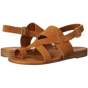 Franco Sarto flat brown tan suede sandals 8